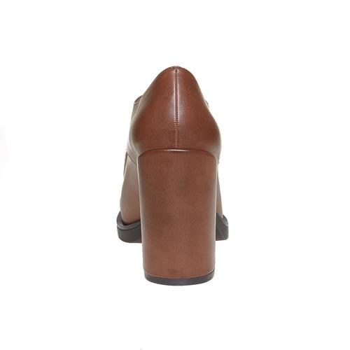 Scarpe basse da donna con tacco massiccio bata, marrone, 721-4307 - 17