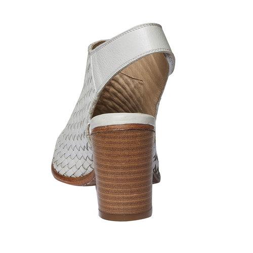 Sandali di pelle dal tacco ampio bata, bianco, 764-3434 - 17