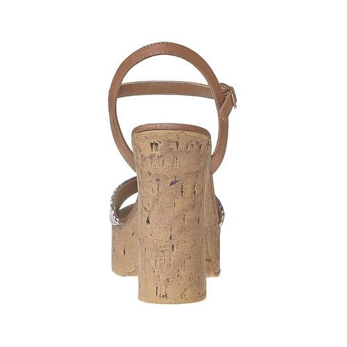 Sandali con tacco massiccio bata, marrone, 761-3485 - 17