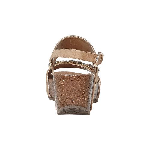 Sandali con strass e plateau bata, beige, 669-8209 - 17