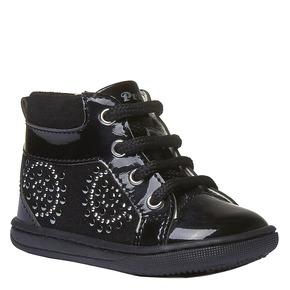 Scarpe di pelle alla caviglia con applicazioni primigi, nero, 123-6131 - 13