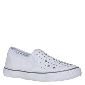 Slip-on da ragazza con strass mini-b, bianco, 229-1148 - 13
