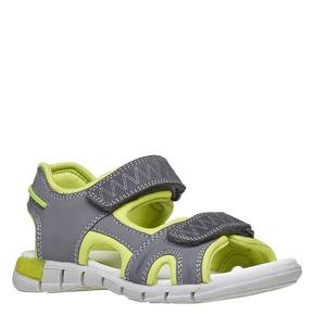Sandali da bambino con strisce di pelle mini-b, grigio, 264-2166 - 13