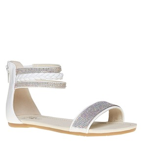 Sandali da ragazza con strass mini-b, bianco, 361-1178 - 13