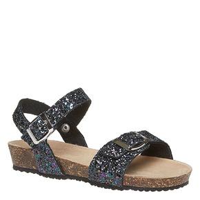 Sandali con glitter e suola di sughero mini-b, nero, 369-6189 - 13