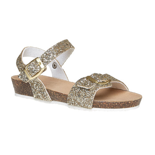 Sandali con glitter e suola di sughero mini-b, oro, 369-8189 - 13