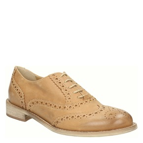 Scarpe di pelle in stile Oxford con decorazioni Brogue bata, marrone, 524-3482 - 13