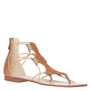Sandali da donna di pelle bata, marrone, 561-3307 - 13