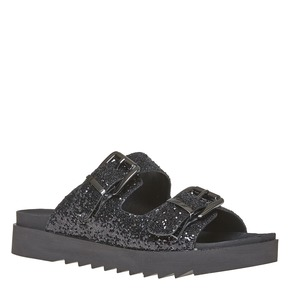 Slip-on scure da donna con paillettes bata, nero, 561-6309 - 13