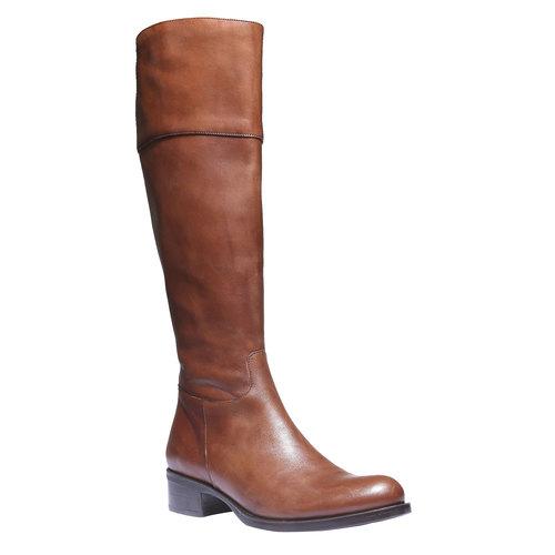 Stivali di pelle con tacco basso bata, marrone, 594-3223 - 13