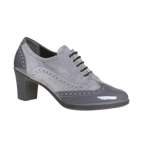 Scarpe basse da donna in pelle con tacco flexible, grigio, 623-2155 - 13