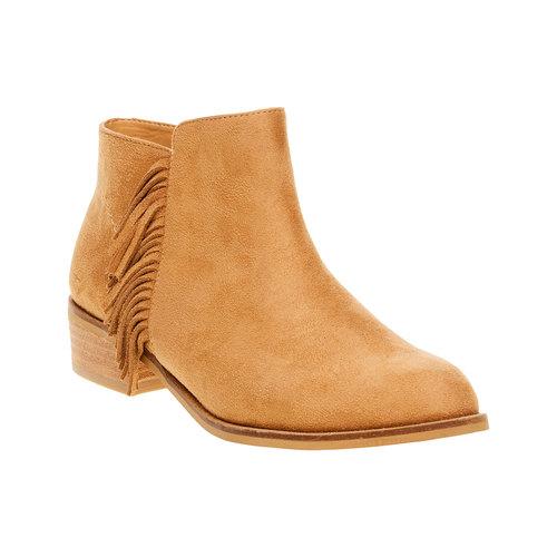 Stivaletti alla caviglia con frange bata, marrone, 599-3102 - 13