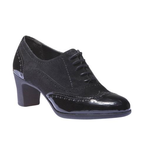 Scarpe basse da donna in pelle con tacco flexible, nero, 623-6155 - 13