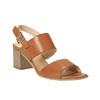 Sandali di pelle con tacco ampio bata, marrone, 664-3205 - 13