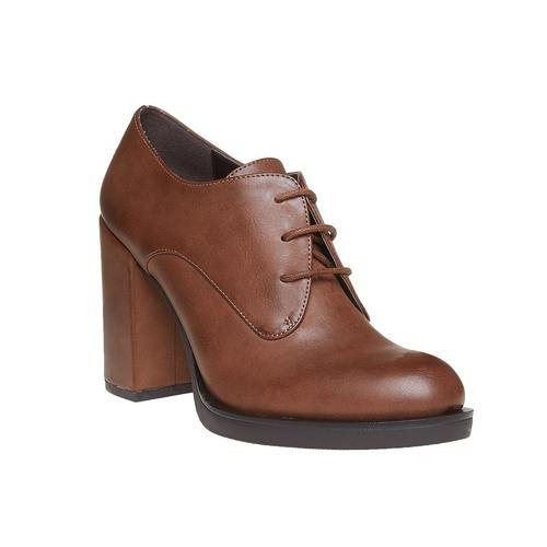 Scarpe basse da donna con tacco massiccio bata, marrone, 721-4307 - 13