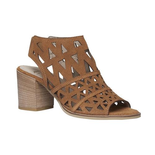 Sandali di pelle con tacco ampio bata, marrone, 763-8532 - 13