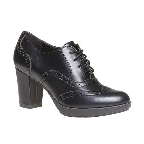 Oxford da donna con tacco bata, nero, 721-6225 - 13