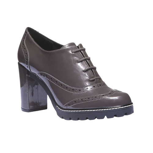 Scarpe basse da donna con tacco alto bata, grigio, 721-2154 - 13