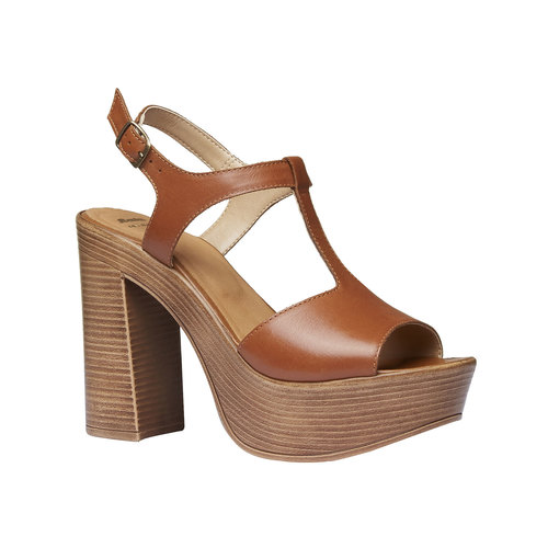 Sandali da donna con tacco massiccio bata, marrone, 764-4509 - 13