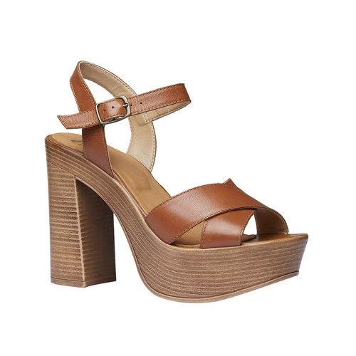 Sandali da donna con strisce di pelle bata, marrone, 764-4511 - 13