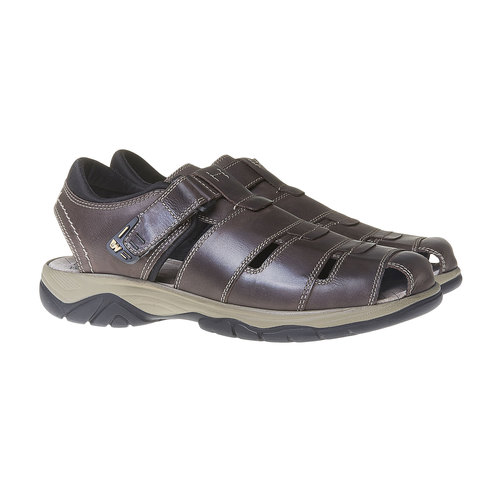 Sandali da uomo in pelle weinbrenner, marrone, 864-4213 - 26