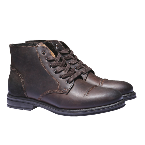 Scarpe in pelle informali bata, marrone, 894-4555 - 26