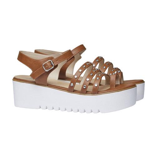 Sandali da donna con flatform bata, marrone, 661-3186 - 26