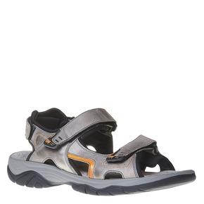 Sandali da uomo in pelle weinbrenner, grigio, 864-2218 - 13