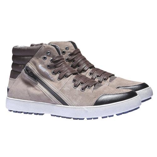 Sneakers in pelle alla caviglia gas, grigio, 843-2508 - 26