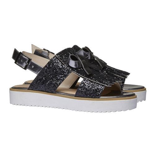 Sandali da donna con flatform bata, nero, 569-6390 - 26