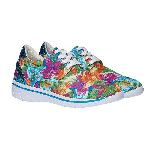 Sneakers da donna con motivo floreale north-star, viola, 549-9230 - 26