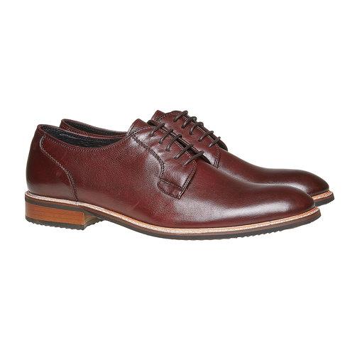Scarpe basse di pelle in stile Derby bata, rosso, 824-5280 - 26