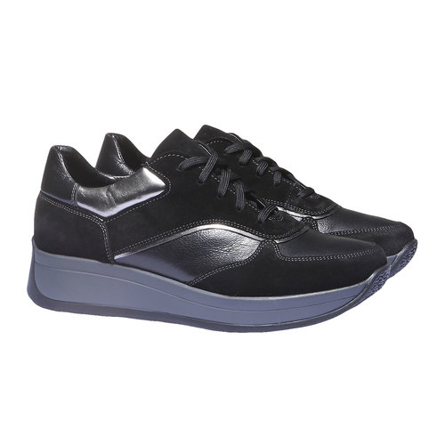 Sneakers in pelle bata, nero, 624-6126 - 26