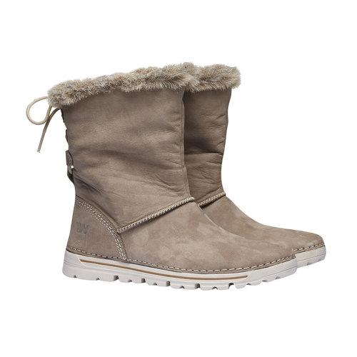 Scarpe di pelle alla caviglia weinbrenner, grigio, 596-2334 - 26