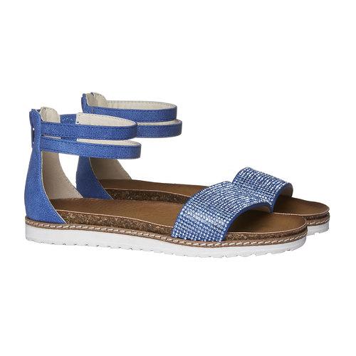 Sandali da ragazza con strass mini-b, blu, 361-9161 - 26