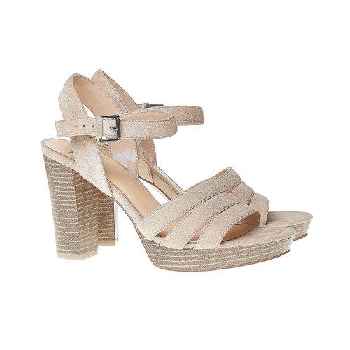 Sandali da donna con strisce bata, beige, 769-4484 - 26