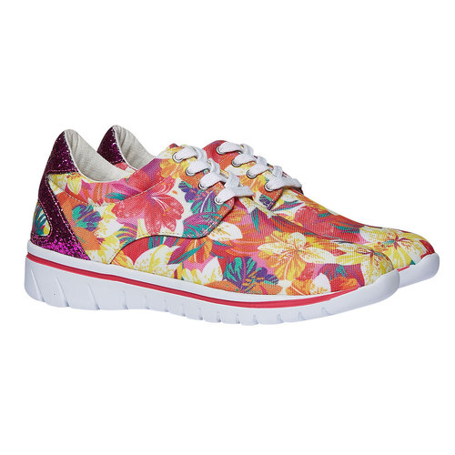 Sneakers da donna con motivo floreale north-star, rosso, 549-5230 - 26