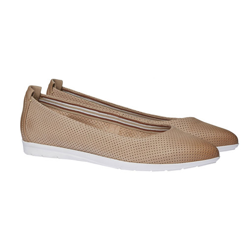 Ballerine di pelle con perforazioni bata-light, marrone, 526-3486 - 26