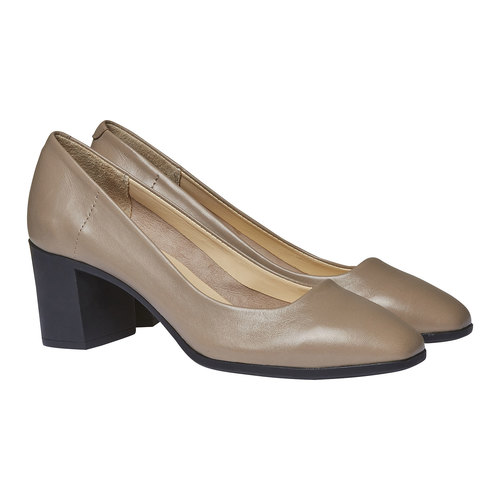 Décolleté da donna in pelle flexible, grigio, 624-2706 - 26