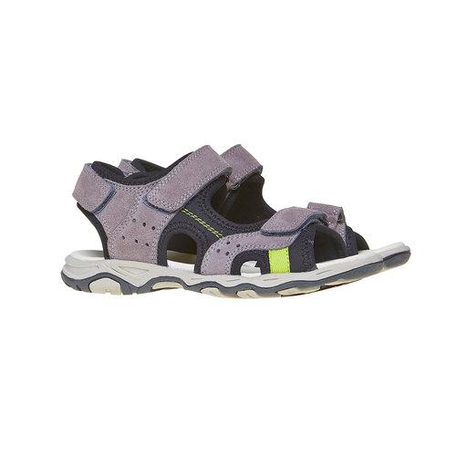 Sandali sportivi da bambino con tomaia di pelle mini-b, grigio, 463-2107 - 26
