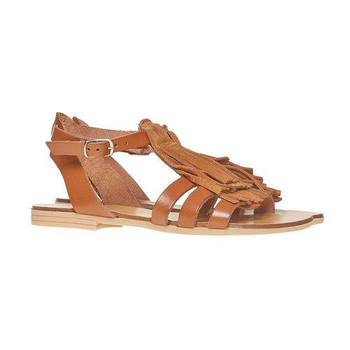 Sandali da bambina in pelle con cinturino alla caviglia. mini-b, marrone, 364-3190 - 26