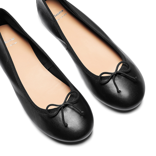 Ballerine in pelle bata, nero, 524-6144 - 26