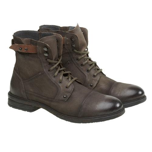 Scarpe di pelle alla caviglia bata, khaki, 894-2165 - 26