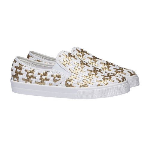 Slip-on da donna bianche e dorate north-star, giallo, 531-8120 - 26