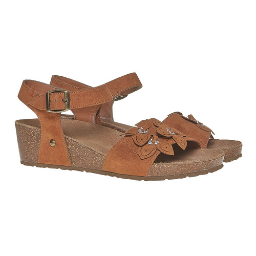 Sandali con tacco a zeppa bata, marrone, 569-3403 - 26