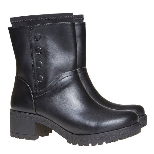 Stivali da donna con tacco massiccio bata, nero, 691-6153 - 26