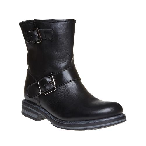 Stivaletti alla caviglia in pelle con fibbie bata, nero, 594-6102 - 13