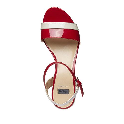 Sandali da donna con tacco basso bata, rosso, 661-5112 - 19