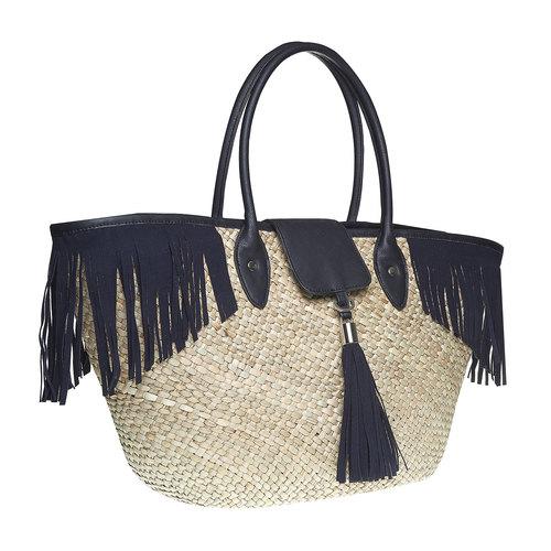 Borsetta Shopper con frange bata, nero, 969-6449 - 13