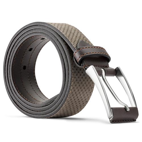 Cintura da uomo in pelle con perforazioni bata, beige, 953-8325 - 26